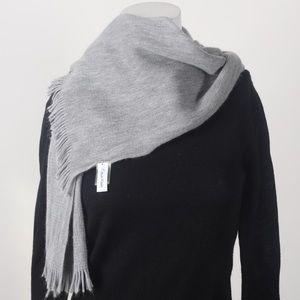 Soft light grey Calvin Klein scarf with fringe